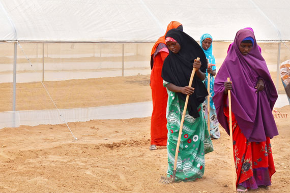 Women in the Dabaab refugee camp attend trainings on business management and horticulture agriculture implemented by UN Women Kenya and the Kenya Red Cross to start businesses. (Photo: UN Women/Tabitha Icuga.)