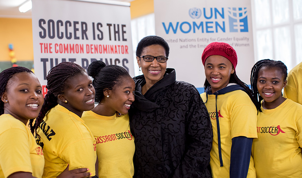 UN Women Executive Director Phumzile Mlambo-Ngcuka with members of a grassroots soccer organization in South Africa. Photo:  UN Women/Karin Schermbrucker