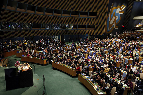 UN Women Executive Director Phumzile Mlambo-Ngcuka delivers the opening statement at the 60th Session of the Commission on the Status of Women, held in the General Assembly Hall at United Nations Headquarters on 14 March 2016. Photo: UN Women/Ryan Brown