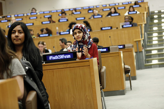 The first-ever Youth Forum at the Commission on the Status of Women engaged 300 young participants in March 2016. Photo: UN Women/Ryan Brown