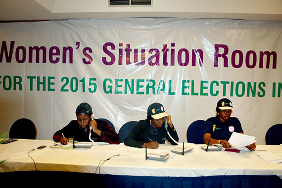 Around Nigeria's general elections, the Women's Situation Room received more than 7,000 calls from the public and election monitors combined, reporting incidents ranging from voting complaints to gender-based violence. Photo: UN Women/Ikechukwu Atta