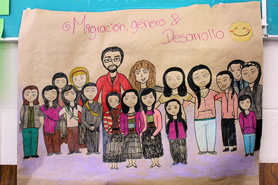 A drawing made by a participant in a training course on women's and migrants' rights, held in Chiapas, Mexico, as part of a UN Women programme on migration. Photo: Rodrigo Barraza