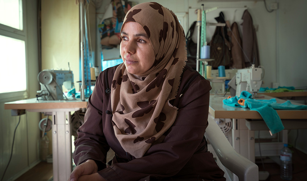 A women at the Za'atari refugee camp in Jordan. Photo: UN Women/Christopher Herwig
