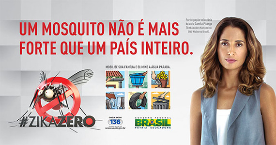 In March 2016 we engaged our Brazil's National Ambassador Camila Pitanga in an information campaign led by the Ministry of Health to combat Aegypti Aedes mosquitoes. Photo: UN Women Brazil