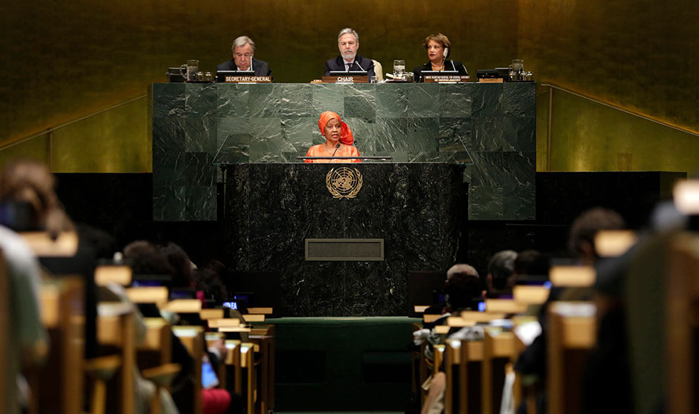 UN Women Executive Director Phumzile Mlambo-Ngcuka speaks at the opening of the Commission on the Status of Women in 2017. Photo: UN Women/Ryan Brown.