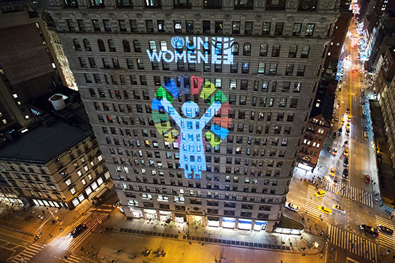 A New York City landmark, the Flatiron Building lit up on International Women's Day 2016 to echo UN Women's call: Step It Up for Gender Equality! Photo: UN Women/Ryan Brown.