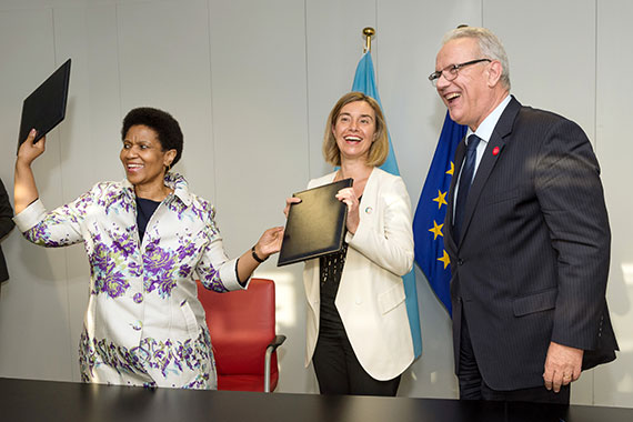 The European Union and UN Women affirmed their partnership with a joint statement signed by (from left) UN Women Executive Director Phumzile Mlambo-Ngcuka, High Representative for Foreign Affairs and Security Policy and Vice-President of the European Commission Federica Mogherini, and Commissioner for International Cooperation and Development Neven Mimica. Photo: European Union.