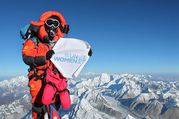 An 11-hour climb took Kanchhi Maya Tamang to the summit of Mount Everest, with a gender equality message. UN Women's Civil Society Advisory Group in Nepal supported the mission. Photo: Courtesy of Kanchhi Maya Tamang.