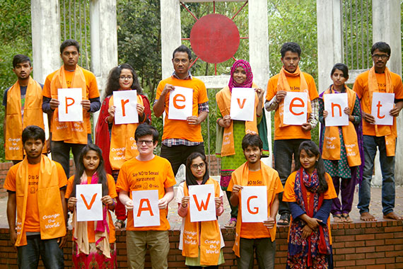 Students at Shahjalal University of Science and Technology in Bangladesh are part of a surge of young activists calling to free campuses from violence against women and girls. Photo: UN Women/Mahtabul Hakim.