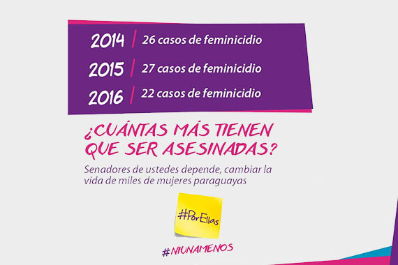 Flyer of the UN Women-supported campaign for a law offering comprehensive protections from all forms of violence against women in Paraguay. The law, known as Ley #Por ellas, was passed in 2016.