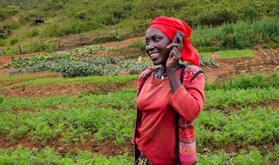 Modern technology makes traditional farming more productive—and lucrative—for women in Rwanda. Through their cell phones, they can now tap into a digital platform that links them to broader markets and has led to large advance contracts for crops. Photo: Alison Wright.