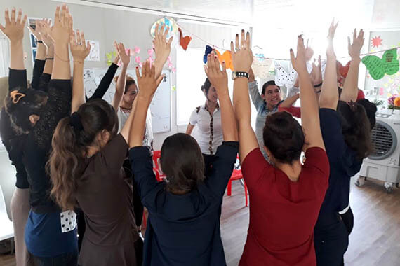The Free Yezidi Foundation Women's Centre offers urgently needed trauma therapy to women and girls in the Kurdistan Region of Iraq, many of whom have experienced horrific violence. Participants attend for three months, taking part in a combination of therapeutic, educational and livelihood activities. Photo: Yesim Arikut-Treece.