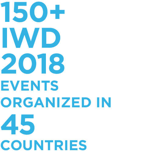 150+ IWD 2018 events organized in 45 countries