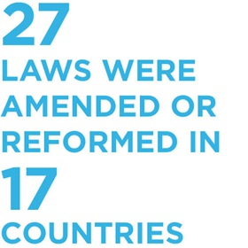 27 laws were amended or reformed in 17 countries