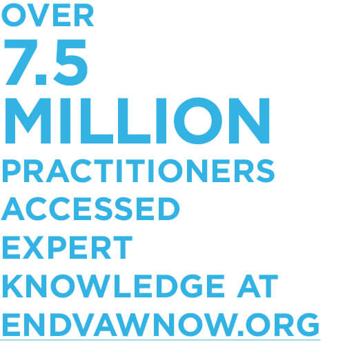 Over 7.5 million practitioners accessed expert knowledge at endVAWnow.org