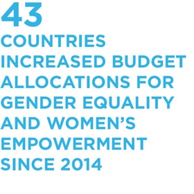 43 countries increased budget allocations for gender equality and women's empowerment since 2014