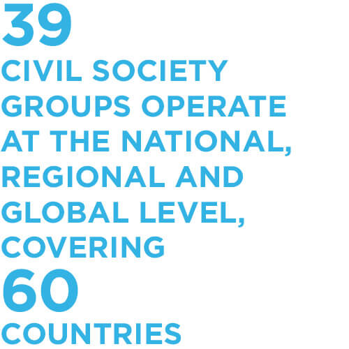 39 civil society groups operate at the national, regional and global level, covering 60 countries