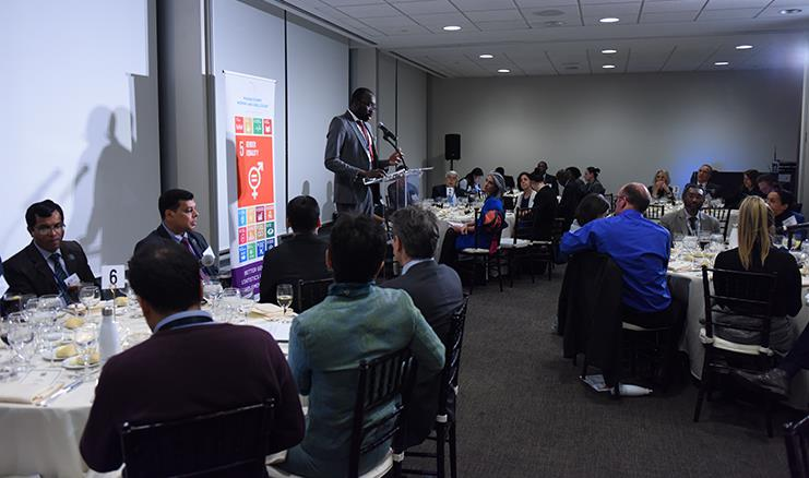 """Papa Seck, Chief Statistician of UN Women addresses the guests of the event on """"Effecting a Radical Shift in Gender Statistics Development: What Roles Can Chief Statisticians Play?"""