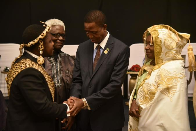 His Excellency President Lungu of Zambia, the African Union Champion for ending child marriage interacts with traditional leaders