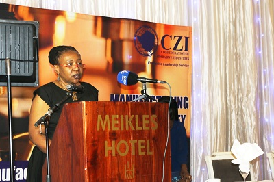 UN Women Zimbabwe Country Representative, Ms. Delphine Serumaga, speaking at the launch of the Annual Manufacturing Sector Survey which includes for the first time a gender analysis of the sector.