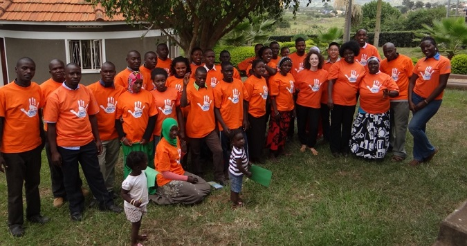 UN WOMEN and Youth in Uganda celebrate 'Orange Day' 25th July 2015 by committing to prevent violence against women and girls