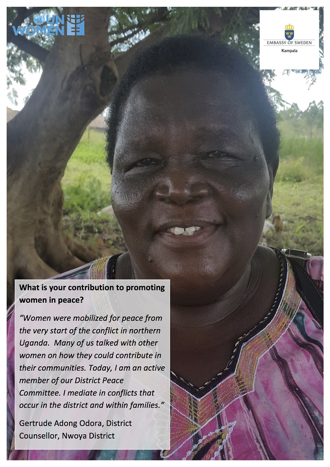 Gertrude's contribution to promote women in peace in Uganda
