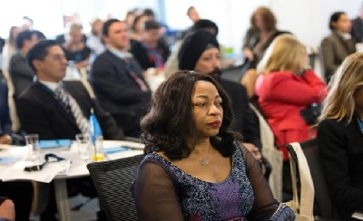 Ms. Folorunsho Alakija (Nigeria) attending UN Women Breakfast Forum. Photo: UN Women/Ryan Brown