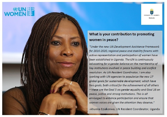Uganda UN Resident Coordinator's contribution to promoting women in peace