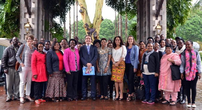 Dr. Yannick Glemarec with staff members of UN Women Photo credit: UN Women/Rose Ogola