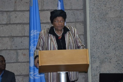 H.E. Ms. Ellen Johnson-Sirleaf, President of the Republic of Liberia addressing UN staff members. Photo credit: UN Women/ Martha Wanjala