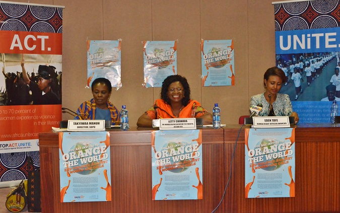 Ms. Takyiwaa Manuh, Mme Letty and Ms Eden Taye press conference. Photo Credits: Paula Mata/UN Women