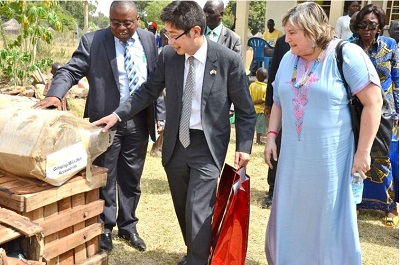 Mr. Lansana Wonneh, UN Women Deputy Country Representative for South Sudan, The Ambassador of Japan to South Sudan, H.E. Kiya Masahiko and the UN Women Director of Programmes, Ms Maria Noel Vaeza, inspect some of the resilience building equipment. Photo Credits: UN Women/Rose Ogola
