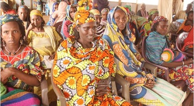 Cross section of women refugees being sensitized at the Social Cohesion Space on GBV at the Gado refugee site in East Cameroon
