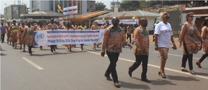 UN Head of agencies at front-line position during march-past on International Women's Day in Cameroon Photo credits: J Fajong/UN Women