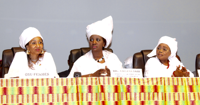 Minister of Women, Family and Children, Mrs Mariama Sarr, at the official ceremony on March 8, 2016 at the Grand Theatre in Dakar.