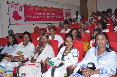 IWD Celebrations Ethiopia, Bahar Dar 12.3.16 event, banner in Amharic in the background. Photo credits: UN Women / Ephrem Tesfaye
