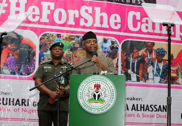 Nigeria's acting president. H.E Yemi Osinbajo, launches the HeForShe advocacy campaign