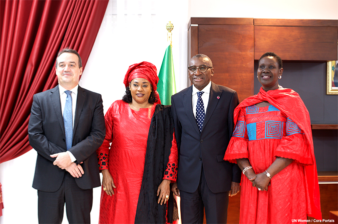 Left to right : Mr. Yannick Glamerec, Assistant Secretary-General of the United Nations and Deputy Executive Director of UN Women ; Mme Ndeye Sali Diop Dieng, Minister of Woman, Family and Gender ; Mr. Sidiki Kab, Minister of Foreign Affairs ; Mrs Diana Louise Ofwana, Regional Director UN Women West and Central Africa – Photo: UNWOMEN/Cora Portais