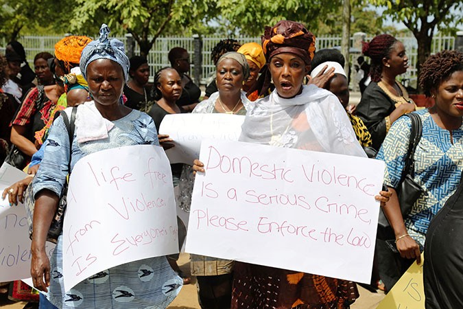 Women peacefully protest at the Liberian Legislature advocating for the passage of the Domestic Viol
