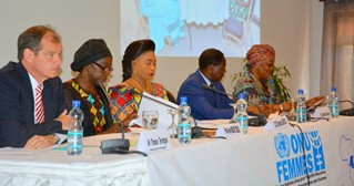 From left to right: Mr. Thomas Terstegen, Mrs. Awa Ndiaye Seck, Mrs. Chantal Safou and Mrs. Thérèse Olenga. Photo - UN Women DRC
