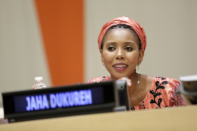 Jaha during the screening of Jaha's Promise in New York, June 2017. Photo: UN Women/ Ryan Brown