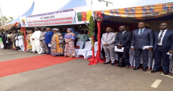 UN Women Resident Representative, Adama Moussa (4th from right) during the launching ceremony at the Yaounde City Council courtyard. Photo credits: J.P. Dargal UN Women