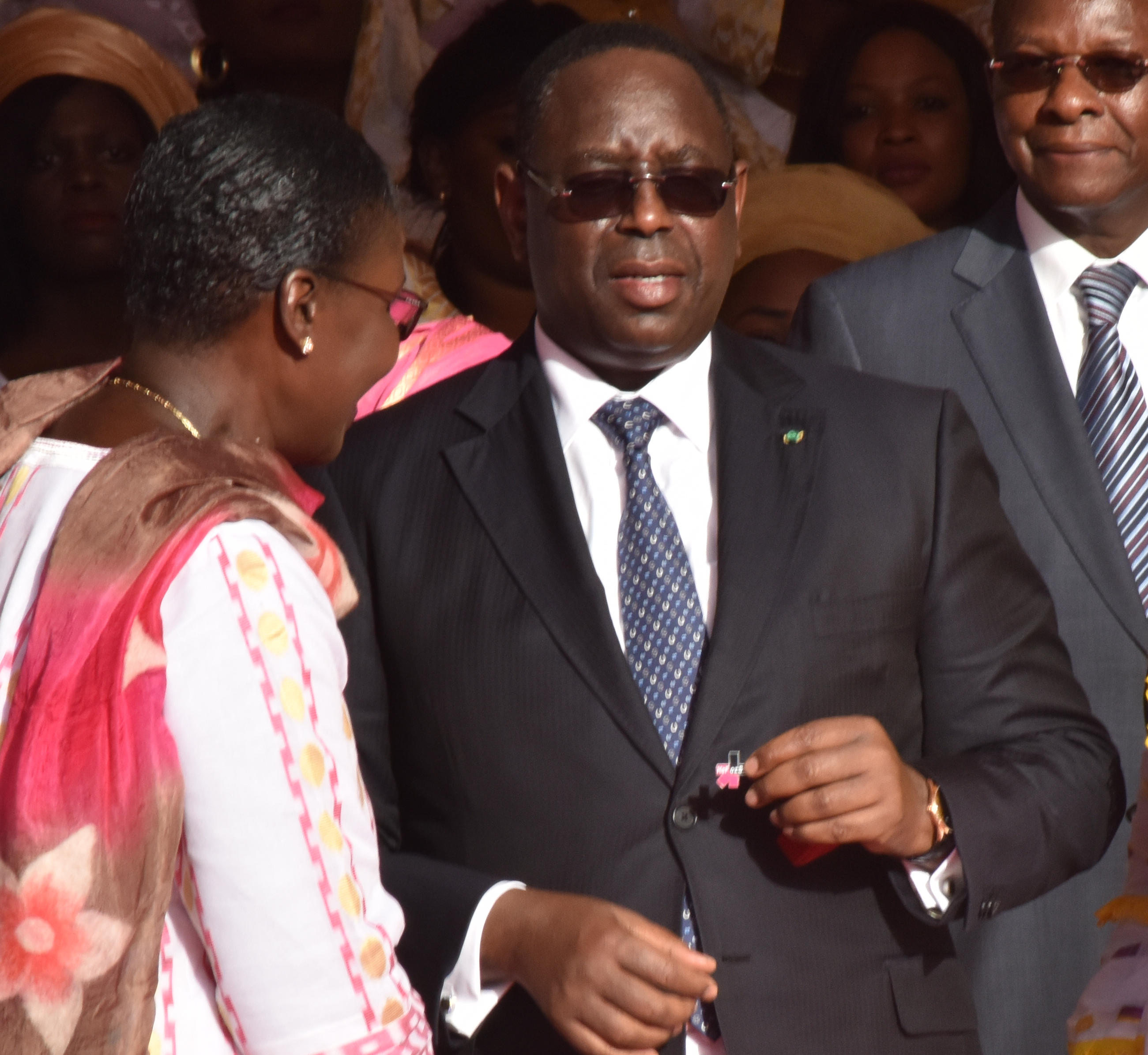 President of the Republic of Senegal, HE Mr. Macky Sall receiving the He For She pin