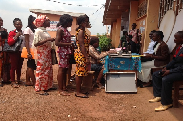 Students of the Bertoua Teacher's Training College doing biometric registration. Photo credits: Alice Tatah, UN Women Cameroon.