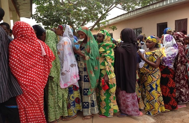 Women queue in the Manjou council premises to get registered for up-coming elections. Photo credits: Alice Tatah, UN Women Cameroon