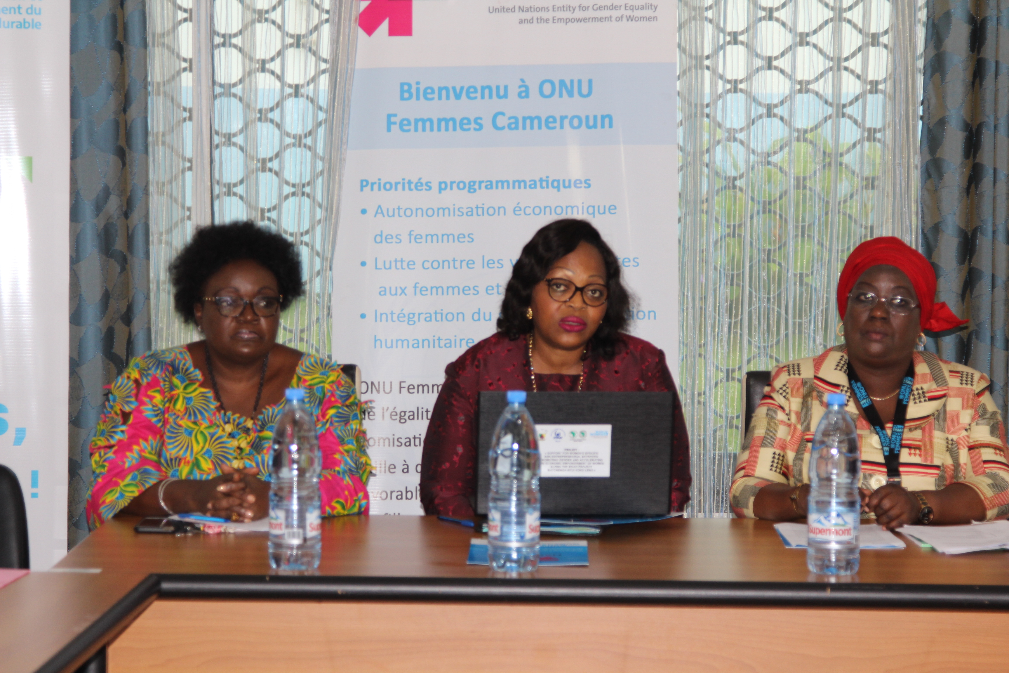 Mme Ongola Martine, Director of Economic Empowerment of Women (centre) flanged by Mme Paulette Beat, Governance Programme Coordinator, UN Women Cameroon (left) and Mme Djenaba Ndiaye, Programme Coordinator Gender Hygiene and Sanitation, UN Women WCARO (right). Photo credit; Teclaire Same, UN women.