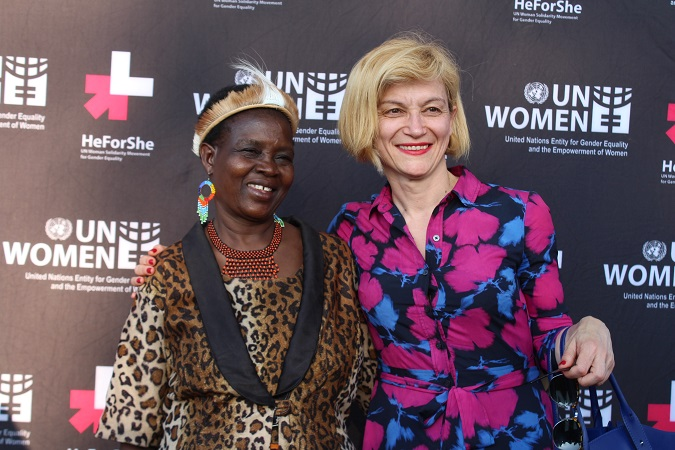 Senior Chief Kachindamoto, a prominent champion in the fight to stop child marriage with President of the UN Women Executive Board, Ivana Pajević. Photo: UN Women