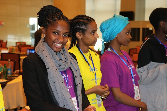 Darlene Horta, participant from Cape Verde smiles at the camera during a team building session of the first Africa Girls Can Code camp held in Ethiopia. Photo: UN Women/ Faith Bwibo