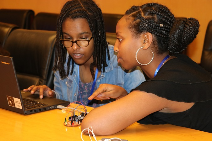 A practical session on robotics during the coding camp held in Addis Ababa, Ethiopia. Photo: UN Women/ Faith Bwibo