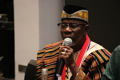 Chief Zanzan Karwor, Chairman of the National Council of Chiefs & Elders of Liberia (NTCCEL)  gives is remarks during the meeting. Photo: UN Women/ Faith Bwibo